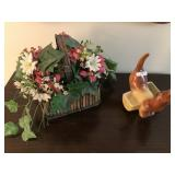 Dog Planter & Art Flower Arrangement