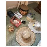 Lot w/Hats, Hat Boxes, Travel Clock, etc...