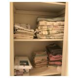 Closet Lot of Bath Cloths, Sheets, Cleaning