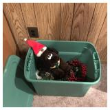 Lot of X-Mas Decorations, Storage Bin, etc