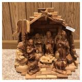 Outstanding Wood Carved Nativity Set