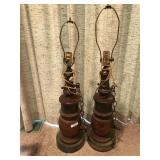 Pr Large Wooden Lamps