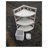 Assorted white wicker decor