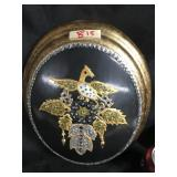 Encrusted Phoenix round plaque
