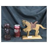 African wood carved & wood horse statuettes