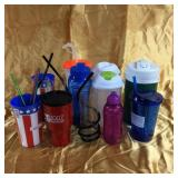 Assorted plastic drinkware