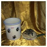 Dog treats jar & turtle figurine