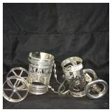 Pair of ornate glass holders