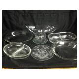 Assorted glass servingware
