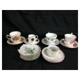 Assorted tea cups & saucers