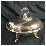 Silver plated round chafing dish