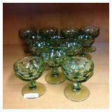 Set of green cocktail glasses