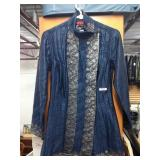 Navy Blue Hand Quilted 100% Silk Jacket Made in