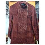 Dark Red/burgundy Hand Quilted 100% Silk Jacket