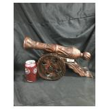 Wood carved cannon figurine