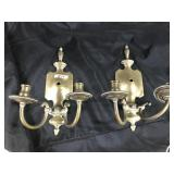 Pair of  vintage solid brass candle sconces