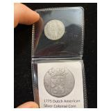 1775 Dutch American Silver Colonial Coin