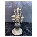 Vintage silver and wood candleholder