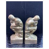 Vintage Havey Bronze  thinking man book end cast