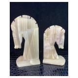 Vintage Carved Onyx Horse Head Bookends