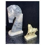 Vintage Carved Onyx Horse Head Statue