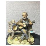 Vintage decor old man & dog playing guitar by