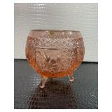Large depression pink glass bowl
