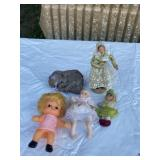 Assortment of antique dolls