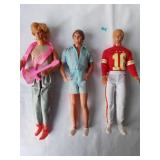 Three Vintage Ken Dolls with Clothing