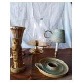 Lot of Two Candle Holders, One Lamp, One Vase,