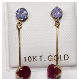 10K  Tanzanite(0.55ct) Ruby(0.52ct) Earrings