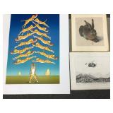 Cat and Apple Print, Bunny Print , and Humorous