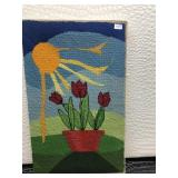 Needlepoint With Sun, Sky, and Red Flowers