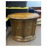 Vintage wooden round double door side table, end