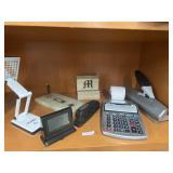 Letter M block, marble pen holder, cannon clock