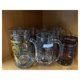 Lot of glass mugs, music glass notes, seasons
