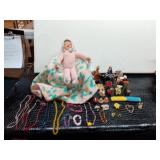 Crochet Doll in Chair, Small Figurines,
