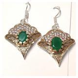 $400 Silver Emerald CZ Earrings