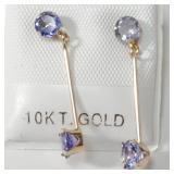 $500 10K  4 Tanzanite(1ct) Earrings