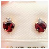 $200 10K  Garnet CZ Earrings