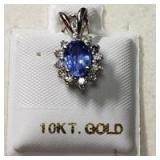 10K  Diamond(0.32ct) Sapphire(1ct) Pendant