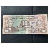 Banknote Honduras 10 Lempiras Cabanas