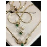 14k vintage emerald gold necklace and earring set