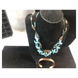 Blue necklace & bracelets