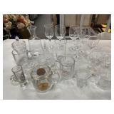 Lot of glass mugs, wine glass