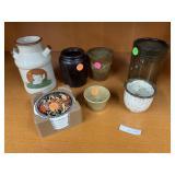Lot of mugs & milk canteen w/ Roman coasters
