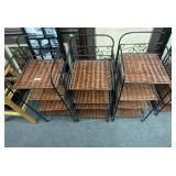 Woven style brown stands w/four compartments