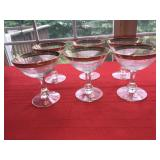 Lot 6 Antique Glass Glasses Clear with Gold