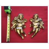 Pair Gold Tone Cherubs Angels Wall Hanging