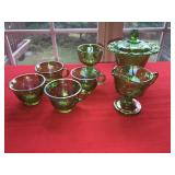Large Lot GREEN DEPRESSION GLASS PRESSED  Candy